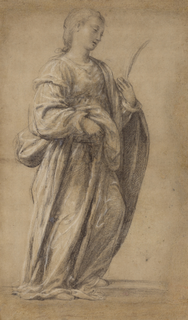 Saint Lucy; Fra Paolino (Paolo del Signoraccio) (Italian, about 1490 - 1547); Italy; about 1525–1530; Black and white chalk; 46 × 27.1 cm (18 1/8 × 10 11/16 in.); 89.GB.34; The J. Paul Getty Museum, Los Angeles; Rights Statement: No Copyright - United States