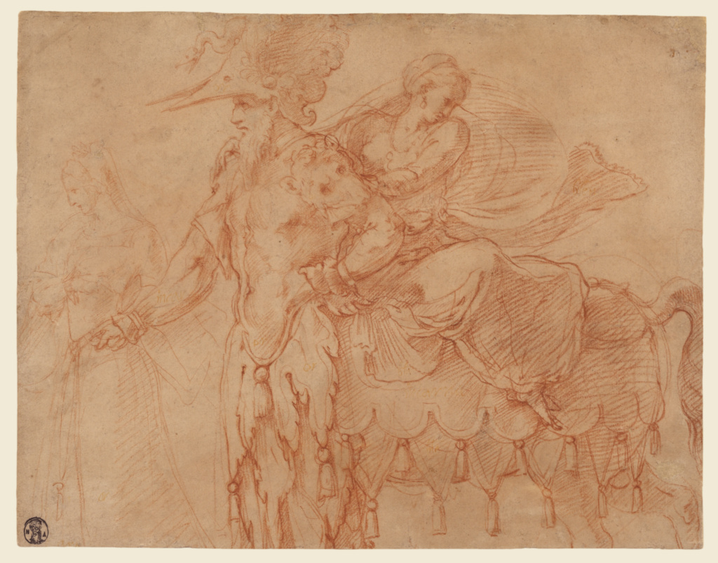 Centaur and Lapith; Francesco Primaticcio (Italian, 1504 - 1570); about 1540; Red chalk; 21.7 × 27.8 cm (8 9/16 × 10 15/16 in.); 89.GB.66; Rights Statement: No Copyright - United States