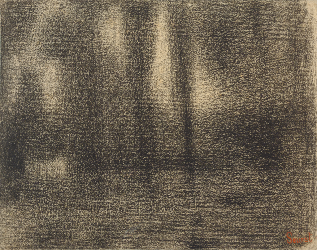 Poplars; Georges Seurat (French, 1859 - 1891); France; about 1883–1884; Conte crayon, fixed on laid paper; 24.3 × 31 cm (9 9/16 × 12 3/16 in.); 90.GE.1; The J. Paul Getty Museum, Los Angeles; Rights Statement: No Copyright - United States
