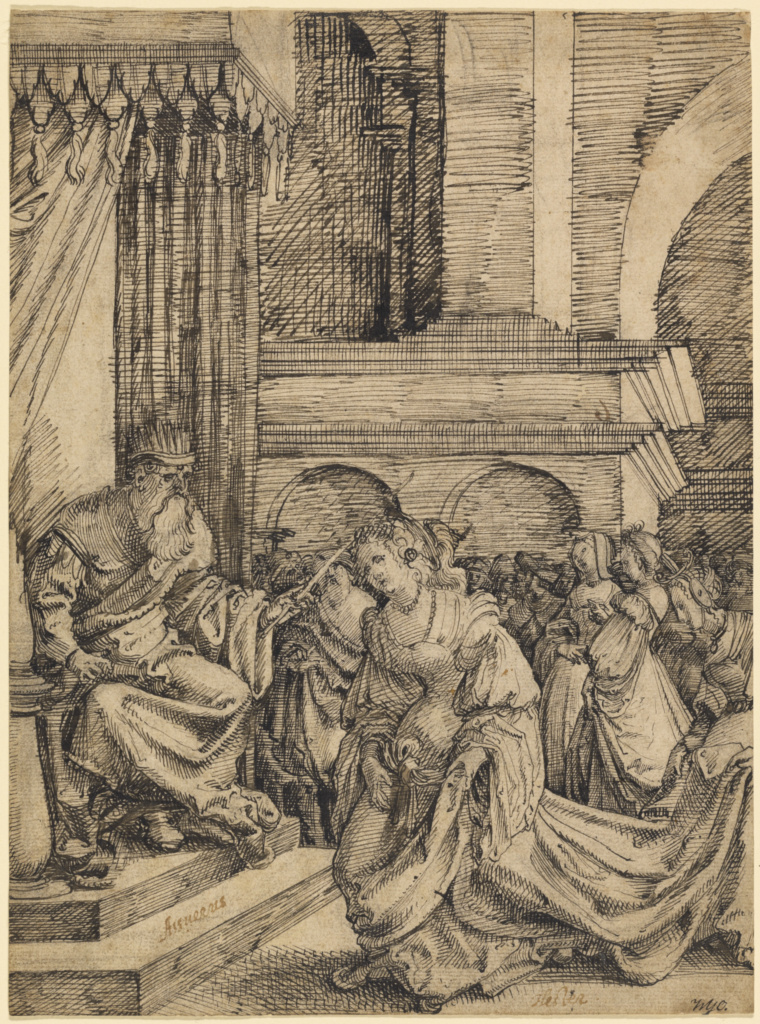 Esther Before Ahasuerus (recto); Slight Sketch of an Ornamental Vase (verso); Frans Crabbe van Espleghem (Flemish, about 1480 - 1552); about 1525; Pen and dark brown ink, with touches of gray-brown wash, over black chalk, incised for transfer (recto); black chalk (verso); 23.7 × 19.4 cm (9 5/16 × 7 5/8 in.); 90.GA.4; The J. Paul Getty Museum, Los Angeles; Rights Statement: No Copyright - United States