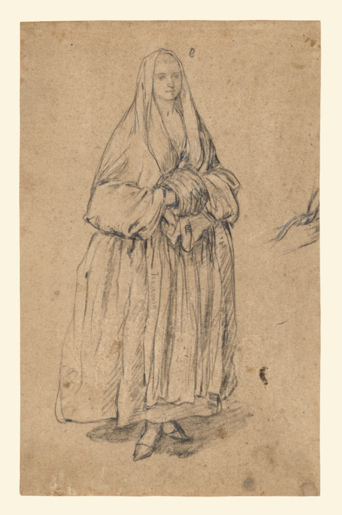 Standing Woman Holding a Muff, Turned Slightly to the Right (recto); Studies of Heads (verso); Pietro Longhi (Italian, 1701 - 1785); Italy; about 1755–1760; Black and white chalk (recto); Black chalk (verso); 27.9 × 17.6 cm (11 × 6 15/16 in.); 90.GB.30; The J. Paul Getty Museum, Los Angeles; Rights Statement: No Copyright - United States