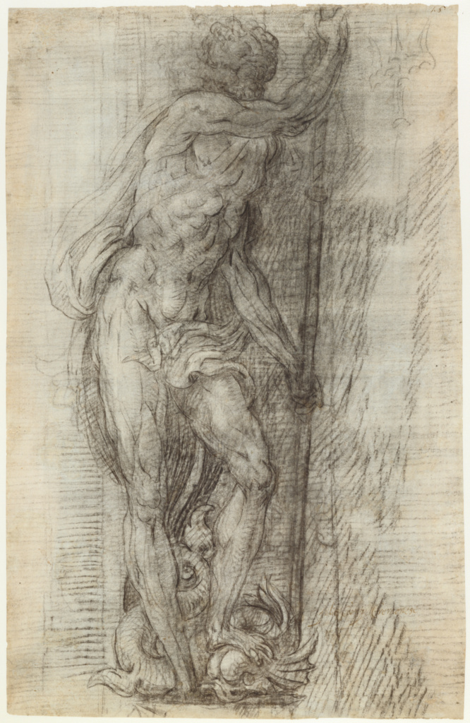 Neptune; Giulio Campi (Italian, 1508 - 1573); Italy; 1541; Black chalk, the principle lines indented (recto); Rubbed with black chalk for transfer (verso); 42.7 × 27.6 cm (16 13/16 × 10 7/8 in.); 90.GB.66; The J. Paul Getty Museum, Los Angeles; Rights Statement: No Copyright - United States