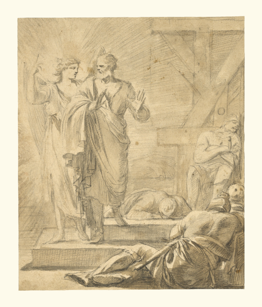 The Liberation of Saint Peter; Laurent de La Hyre (French, 1606 - 1656); about 1647; Black chalk and brown wash; 23.8 × 19.7 cm (9 3/8 × 7 3/4 in.); 92.GB.27; The J. Paul Getty Museum, Los Angeles; Rights Statement: No Copyright - United States