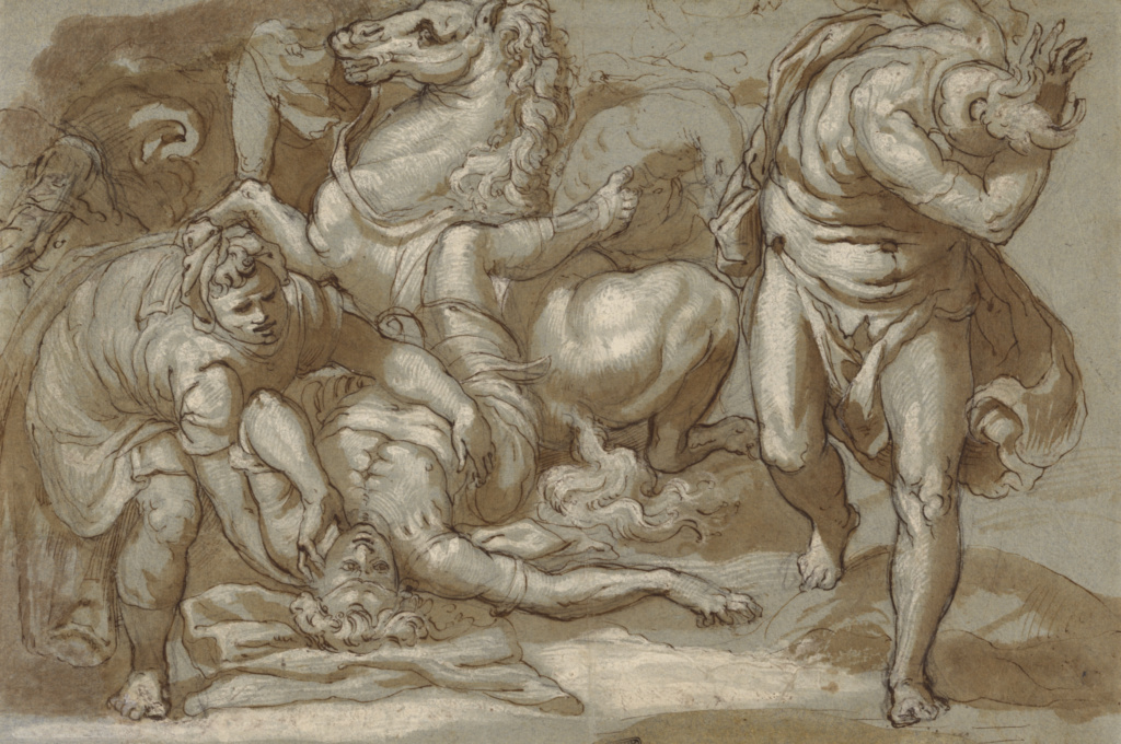 The Conversion of Saint Paul; Taddeo Zuccaro (Italian, 1529 - 1566); Italy; 1558/1559–1566; Pen and brown ink, brush with brown wash, black chalk, and lead white heightening on blue paper; 26.2 × 39.5 cm (10 5/16 × 15 9/16 in.); 91.GA.13; The J. Paul Getty Museum, Los Angeles; Rights Statement: No Copyright - United States