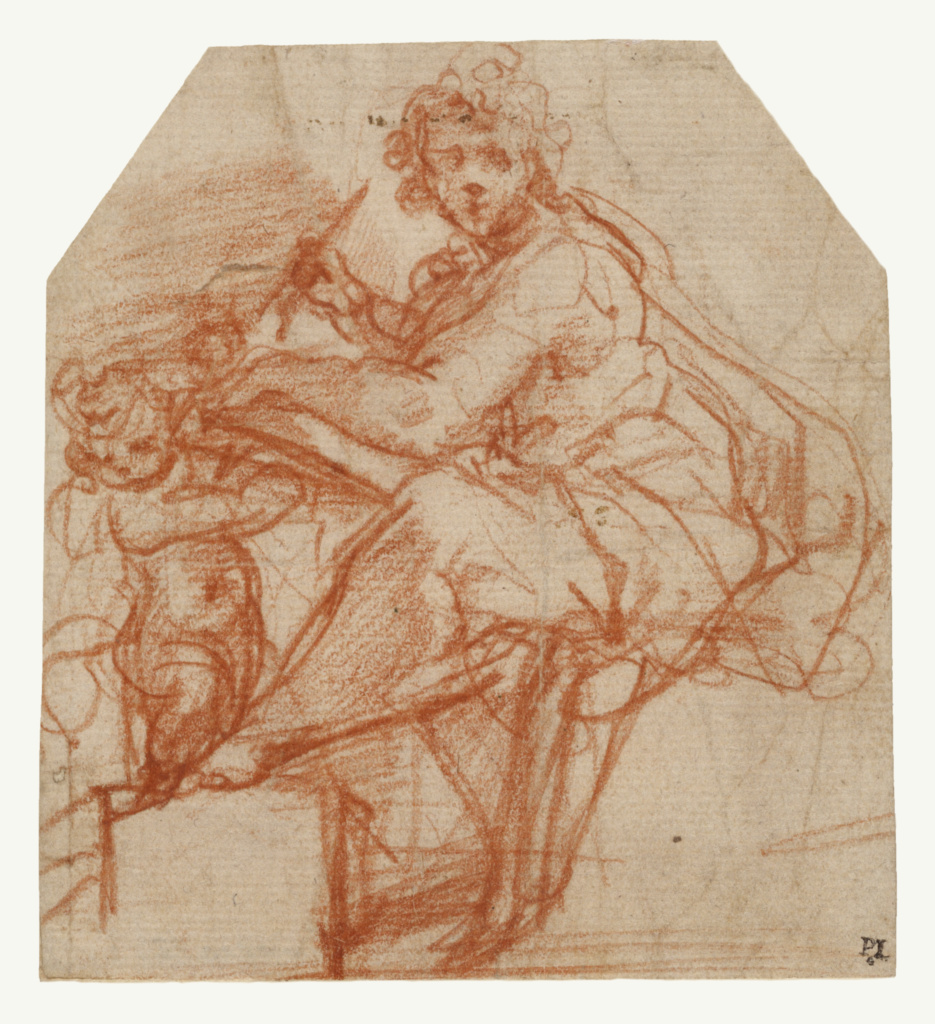 Saint Matthew; Correggio (Antonio Allegri) (Italian, about 1489 - 1534); Italy; about 1523; Red chalk; 12.1 × 11.1 cm (4 3/4 × 4 3/8 in.); 91.GB.4; The J. Paul Getty Museum, Los Angeles; Rights Statement: No Copyright - United States