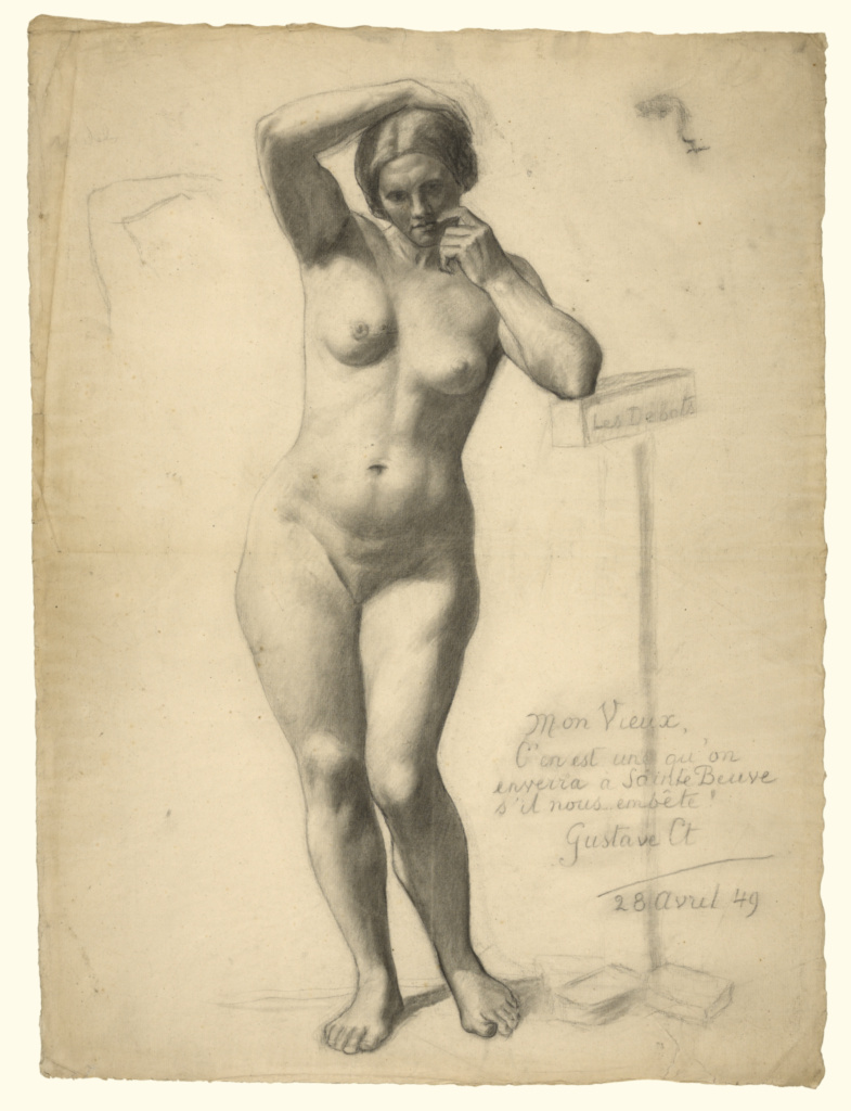 Standing Female Nude; Gustave Courbet (French, 1819 - 1877); France; 1849; Compressed charcoal with stumping and lifting on laid paper; 62.2 × 46 cm (24 1/2 × 18 1/8 in.); 90.GB.134; The J. Paul Getty Museum, Los Angeles; Rights Statement: No Copyright - United States