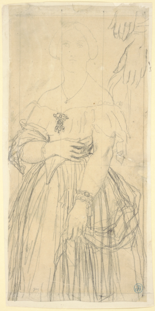 Study for the Dress and the Hands of Madame Moitessier; Jean-Auguste-Dominique Ingres (French, 1780 - 1867); 1851; Graphite on tracing paper, squared in black chalk; 35.4 × 16.8 cm (13 15/16 × 6 5/8 in.); 91.GG.79; Rights Statement: No Copyright - United States