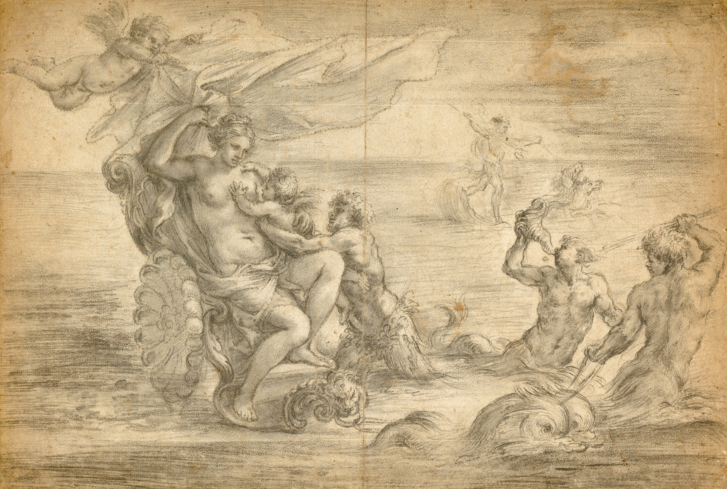 Venus Seated in Her Sea Chariot Suckling Cupid; Alessandro Algardi (Italian, 1598 - 1654); about 1645; Black chalk, pricked for transfer; 30.3 × 44.8 cm (11 15/16 × 17 5/8 in.); 92.GB.39; The J. Paul Getty Museum, Los Angeles; Rights Statement: No Copyright - United States
