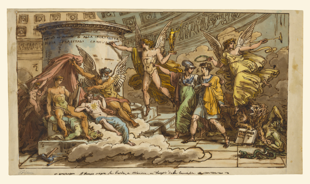 Allegory on the Life of Canova; Felice Giani (Italian, 1758 - 1823); Italy; about 1822–1823; Black chalk, pen and brown ink, and watercolor; 35.9 × 62.7 cm (14 1/8 × 24 11/16 in.); 92.GG.17; The J. Paul Getty Museum, Los Angeles; Rights Statement: No Copyright - United States
