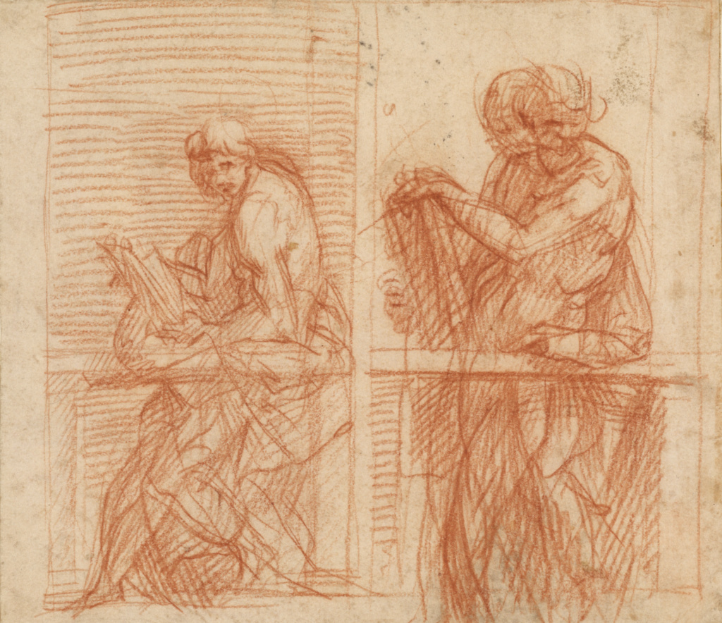 Study of Figures Behind a Balustrade (recto); Study of Figures Behind a Balustrade (verso); Andrea del Sarto (Italian, 1486 - 1530); Italy; about 1522; Red chalk (recto); Red chalk (verso) on a tan laid paper; 17.5 × 20 cm (6 7/8 × 7 7/8 in.); 92.GB.74; The J. Paul Getty Museum, Los Angeles; Rights Statement: No Copyright - United States