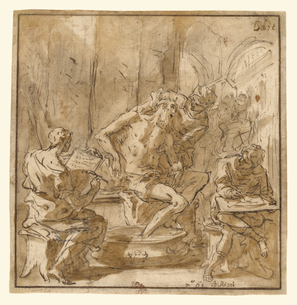 The Death of Seneca (recto); Study of a Man (verso); Sebastiano Ricci (Italian, 1659 - 1734); about 1705; Pen and brown ink, brown wash, and black chalk (recto); pen and brown ink (verso); 17.8 × 17.5 cm (7 × 6 7/8 in.); 92.GA.32; The J. Paul Getty Museum, Los Angeles; Rights Statement: No Copyright - United States