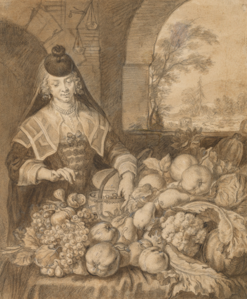 Personification of September; Joachim von Sandrart (German, 1606 - 1688); about 1644; Black chalk and brown wash, heightened with gray chalk, incised for transfer; 28.7 × 23.8 cm (11 5/16 × 9 3/8 in.); 92.GB.101; The J. Paul Getty Museum, Los Angeles; Rights Statement: No Copyright - United States