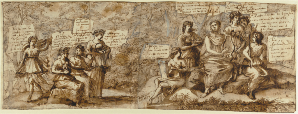 Apollo and the Muses; Claude Lorrain (Claude Gellée) (French, 1604/1605? - 1682); France; 1674; Pen and brown wash, heightened with white gouache, over black chalk; 21.3 × 58.1 cm (8 3/8 × 22 7/8 in.); 95.GA.66; The J. Paul Getty Museum, Los Angeles; Rights Statement: No Copyright - United States