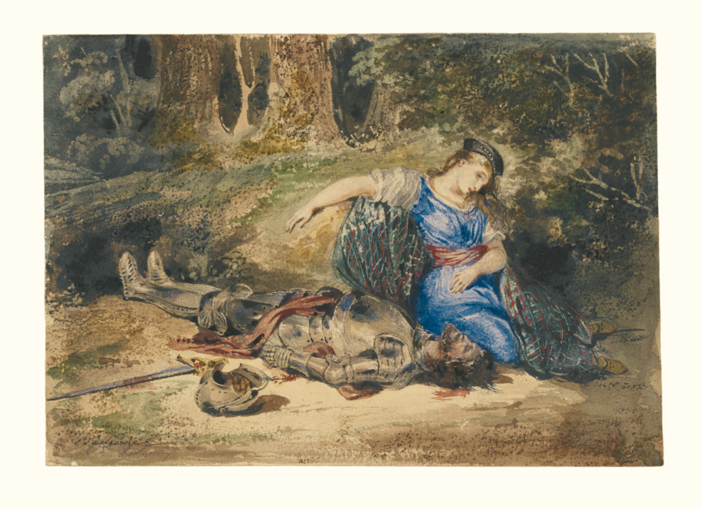 The Death of Lara; Eugène Delacroix (French, 1798 - 1863); about 1824; Watercolor with some bodycolor and some underdrawing in graphite; 17.9 × 25.7 cm (7 1/16 × 10 1/8 in.); 94.GC.51; The J. Paul Getty Museum, Los Angeles; Rights Statement: No Copyright - United States