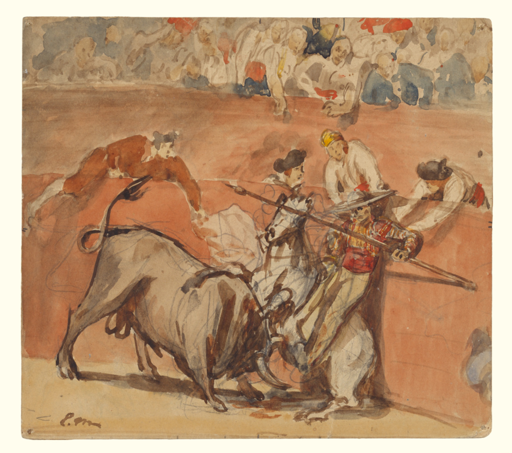 Bullfight; Édouard Manet (French, 1832 - 1883); 1865; Watercolor over graphite; 19.2 × 21.4 cm (7 9/16 × 8 7/16 in.); 94.GC.100; The J. Paul Getty Museum, Los Angeles; Rights Statement: No Copyright - United States