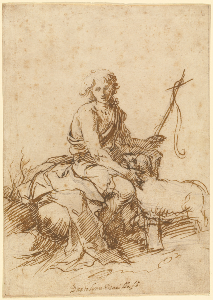The Youthful Saint John the Baptist Seated in a Landscape (recto); Unidentified Figure Composition (Dido and Aeneas?) (verso); Bartolomé Esteban Murillo (Spanish, 1617 - 1682); about 1655; Pen and reddish brown ink over black chalk (recto); pen and brown ink (verso) on a separate sheet of paper (verso), on which the recto sheet has been laid down; 27.1 × 19.2 cm (10 11/16 × 7 9/16 in.); 94.GA.79; The J. Paul Getty Museum, Los Angeles; Rights Statement: No Copyright - United States