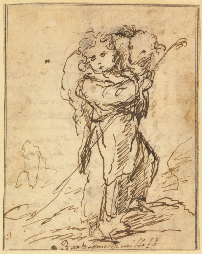 The Christ Child as the Good Shepherd; Bartolomé Esteban Murillo (Spanish, 1617 - 1682); about 1675–1680; Pen and brown ink over black chalk; 13.2 × 10.3 cm (5 3/16 × 4 1/16 in.); 94.GA.80; Rights Statement: No Copyright - United States