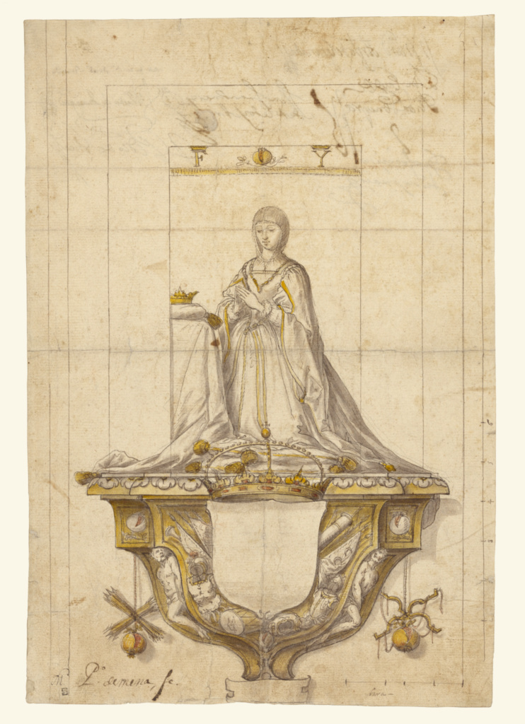 Study for a Statue of Queen Isabella; Pedro Mena y Medrano (Spanish, 1628 - 1688); 1673–1674; Black chalk, pen and brown-gray ink, with yellow, gray and red wash; 34.4 × 23.3 cm (13 9/16 × 9 3/16 in.); 94.GA.82; The J. Paul Getty Museum, Los Angeles; Rights Statement: No Copyright - United States