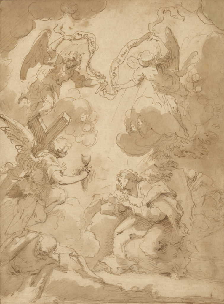The Agony in the Garden; Circle of Pietro Novelli (Italian (Sicilian), 1603 - 1647); about 1640 ?; Pen and brown ink and brown wash over traces of black chalk; remnants of old ruled framing lines in dark brown ink along all four edges; 28.9 × 21.3 cm (11 3/8 × 8 3/8 in.); 94.GA.96; The J. Paul Getty Museum, Los Angeles; Rights Statement: No Copyright - United States