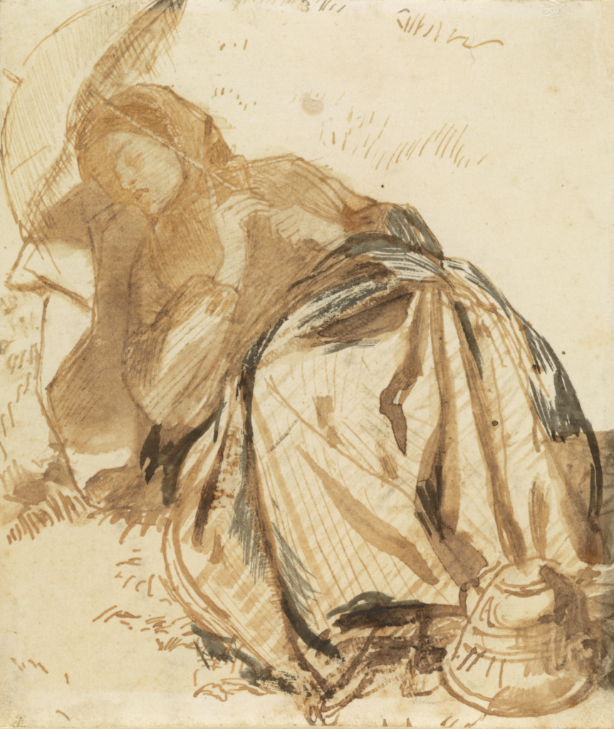 Portrait of Elizabeth Siddal Resting, Holding a Parasol; Dante Gabriel Rossetti (British, 1828 - 1882); about 1852–1855; Pen and brown ink with light brown and gray wash on ivory-finished paper; 10.5 × 10.2 cm (4 1/8 × 4 in.); 95.GA.20; The J. Paul Getty Museum, Los Angeles; Rights Statement: No Copyright - United States
