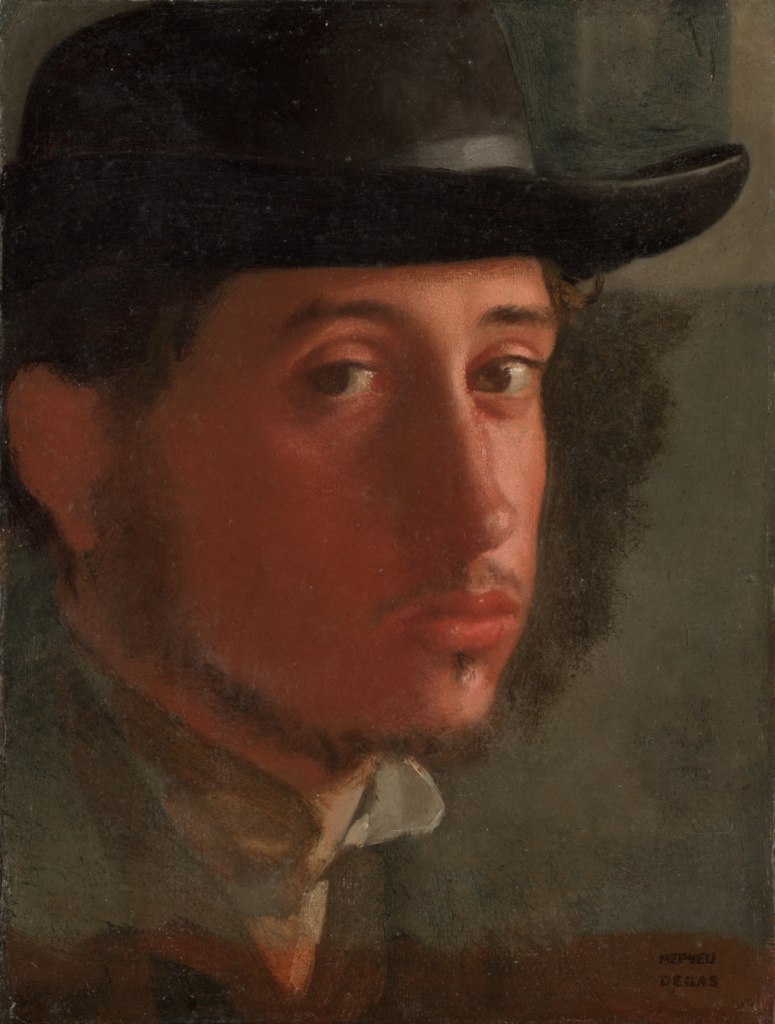Self-Portrait; Edgar Degas (French, 1834 - 1917); about 1857–1858; Oil on paper, laid down on canvas; 21 × 16.2 cm (8 1/4 × 6 3/8 in.); 95.GG.43; The J. Paul Getty Museum, Los Angeles; Rights Statement: No Copyright - United States