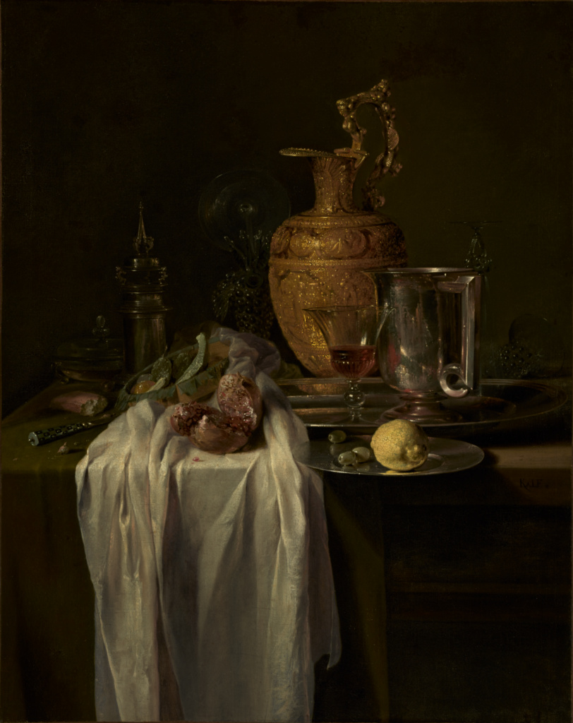 Still Life with Ewer, Vessels, and Pomegranate; Willem Kalf (Dutch, 1619 - 1693); mid-1640s; Oil on canvas; 104.5 × 80.6 cm (41 1/8 × 31 3/4 in.); 54.PA.1; Gift of J. Paul Getty; Rights Statement: No Copyright - United States