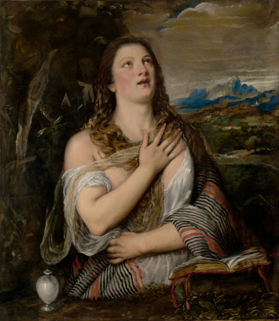 The Penitent Magdalene; Titian (Tiziano Vecellio) (Italian, about 1487 - 1576); 1555–1565; Oil on canvas; 108.3 × 94.3 cm (42 5/8 × 37 1/8 in.); 56.PA.1; The J. Paul Getty Museum, Los Angeles; Rights Statement: No Copyright - United States