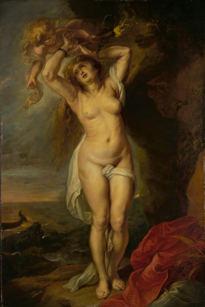 Andromeda; Workshop of Peter Paul Rubens (Flemish, 1577 - 1640); about 1640s; Oil on canvas; 196.9 × 130.8 cm (77 1/2 × 51 1/2 in.); 57.PA.1; The J. Paul Getty Museum, Los Angeles; Rights Statement: No Copyright - United States