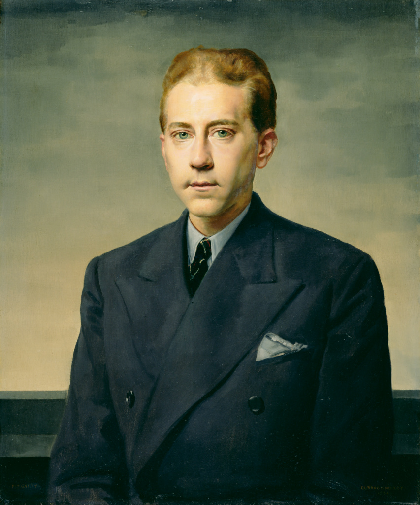 Portrait of J. Paul Getty; Gerald L. Brockhurst (English, 1890 - 1978); 1938; Oil on canvas; 73.7 × 61 cm (29 × 24 in.); 67.PA.2; The J. Paul Getty Museum, Los Angeles; Rights Statement: In Copyright; Copyright: © Richard Woodward