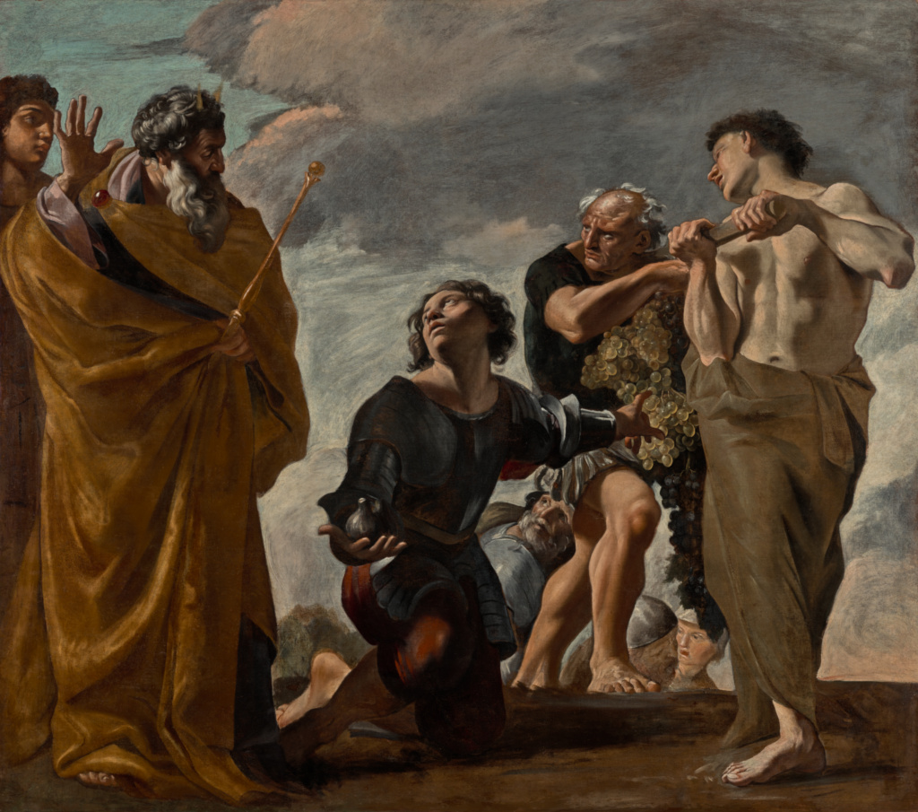 Moses and the Messengers from Canaan; Giovanni Lanfranco (Italian, 1582 - 1647); 1621–1624; Oil on canvas; 219.7 × 249.6 cm (86 1/2 × 98 1/4 in.); 69.PA.4; Rights Statement: No Copyright - United States