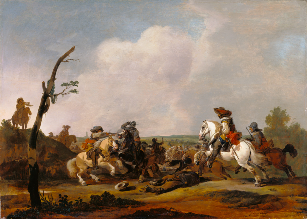 Battle Scene; Attributed to Johannes Lingelbach (Dutch, 1622 - 1674); about 1651–1652; Oil on panel; 59.7 × 83.8 cm (23 1/2 × 33 in.); 69.PB.5; Rights Statement: No Copyright - United States