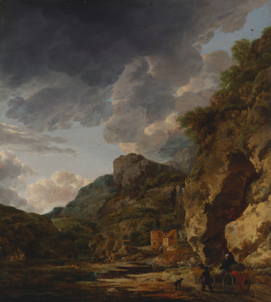 Mountain Landscape with River and Wagon; Herman Nauwincx (Dutch, about 1623 - after 1651), and Willem Schellinks (Dutch, about 1627 - 1678); third quarter of 17th century; Oil on panel; 69.9 × 60.3 cm (27 1/2 × 23 3/4 in.); 69.PB.6; Rights Statement: No Copyright - United States