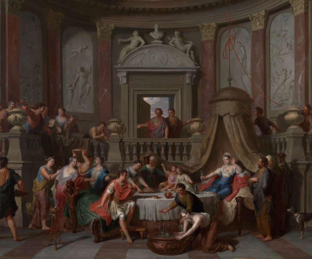 The Banquet of Cleopatra; Gerard Hoet (Dutch, 1648 - 1733); late 17th–early 18th century; Oil on canvas; 57.8 × 69.5 cm (22 3/4 × 27 3/8 in.); 69.PA.14; The J. Paul Getty Museum, Los Angeles; Rights Statement: No Copyright - United States