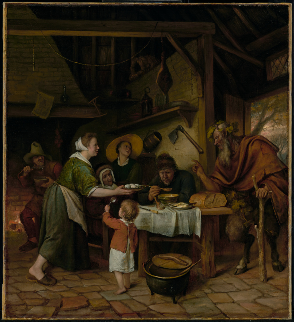 The Satyr and the Peasant Family; Jan Steen (Dutch, 1626 - 1679); Netherlands; about 1660–1662; Oil on canvas; 52.1 × 47.6 cm (20 1/2 × 18 3/4 in.); 69.PA.15; The J. Paul Getty Museum, Los Angeles, Formerly the property of the Philippson family of Brussels, looted by the Nazis, purchased by the Museum in 1969, and owned by the Museum pursuant to an agreement with the Philippson family in 2003; Rights Statement: No Copyright - United States