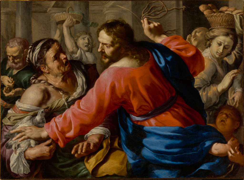 Christ Cleansing the Temple; Bernardino Mei (Italian, 1612 - 1676); about 1655; Oil on canvas; 104.1 × 141 cm (41 × 55 1/2 in.); 69.PA.27; The J. Paul Getty Museum, Los Angeles; Rights Statement: No Copyright - United States