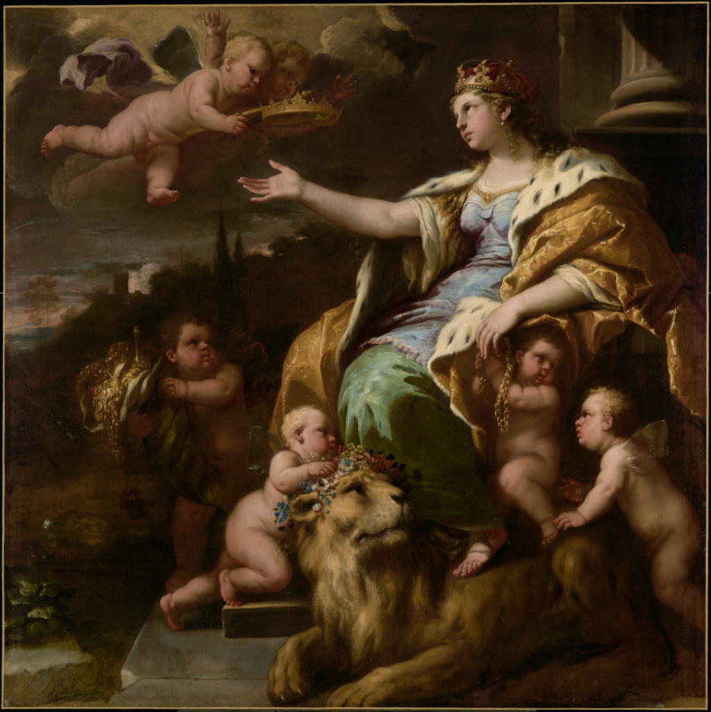Allegory of Magnanimity; Luca Giordano (Italian (Neapolitan), 1634 - 1705); about 1670; Oil on canvas; 180.3 × 180.3 cm (71 × 71 in.); 69.PA.28; Rights Statement: No Copyright - United States