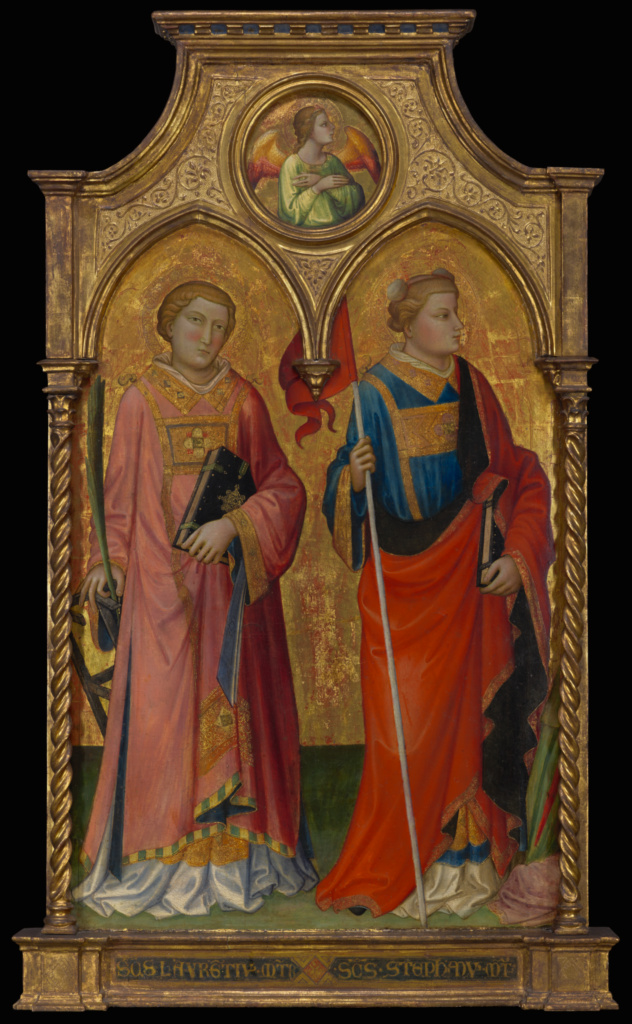 Saints Lawrence and Stephen; Mariotto di Nardo (Italian, active 1394 - 1424); 1408; Tempera and gold leaf on panel; Panel: 138.4 × 83.2 × 10.8 cm (54 1/2 × 32 3/4 × 4 1/4 in.); 69.PB.30; Rights Statement: No Copyright - United States