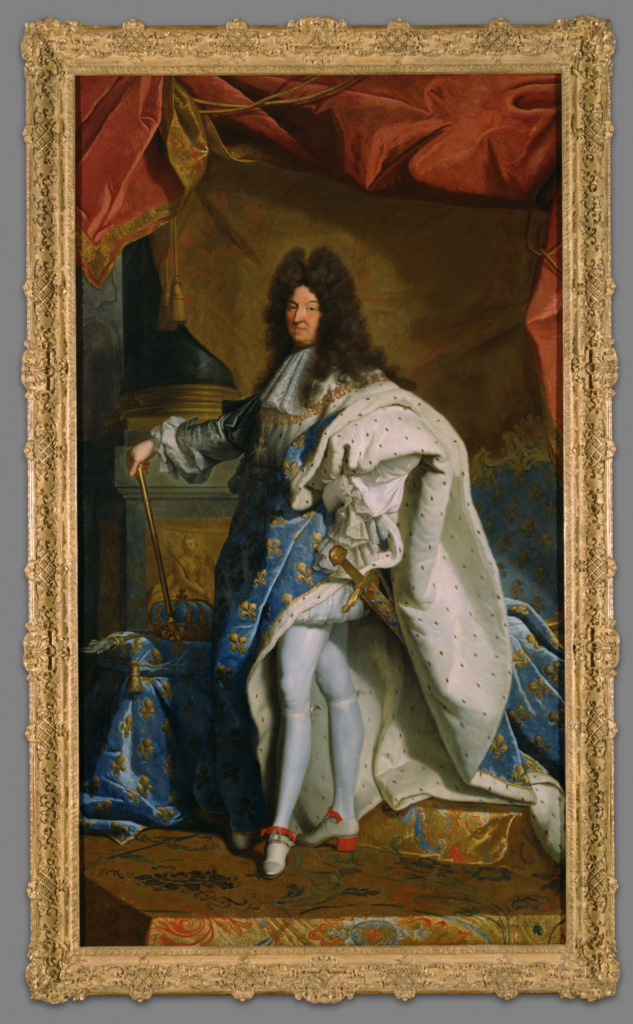 Portrait of Louis XIV; After Hyacinthe Rigaud (French, 1659 - 1743); after 1701; Oil on canvas; 289.6 × 159.1 cm (114 × 62 5/8 in.); 70.PA.1; Gift of J. Paul Getty; Rights Statement: No Copyright - United States