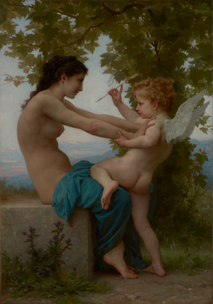 A Young Girl Defending Herself against Eros; William-Adolphe Bouguereau (French, 1825 - 1905); about 1880; Oil on canvas; 81.6 × 57.8 cm (32 1/8 × 22 3/4 in.); 70.PA.3; The J. Paul Getty Museum, Los Angeles; Rights Statement: No Copyright - United States