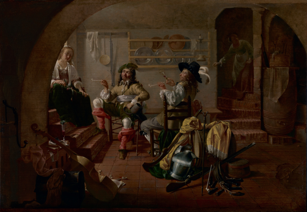 Interior with Soldiers and Women; Jacob Duck (Dutch, about 1600 - 1667); about 1650; Oil on panel; 42.9 × 61.6 cm (16 7/8 × 24 1/4 in.); 70.PB.19; The J. Paul Getty Museum, Los Angeles; Rights Statement: No Copyright - United States