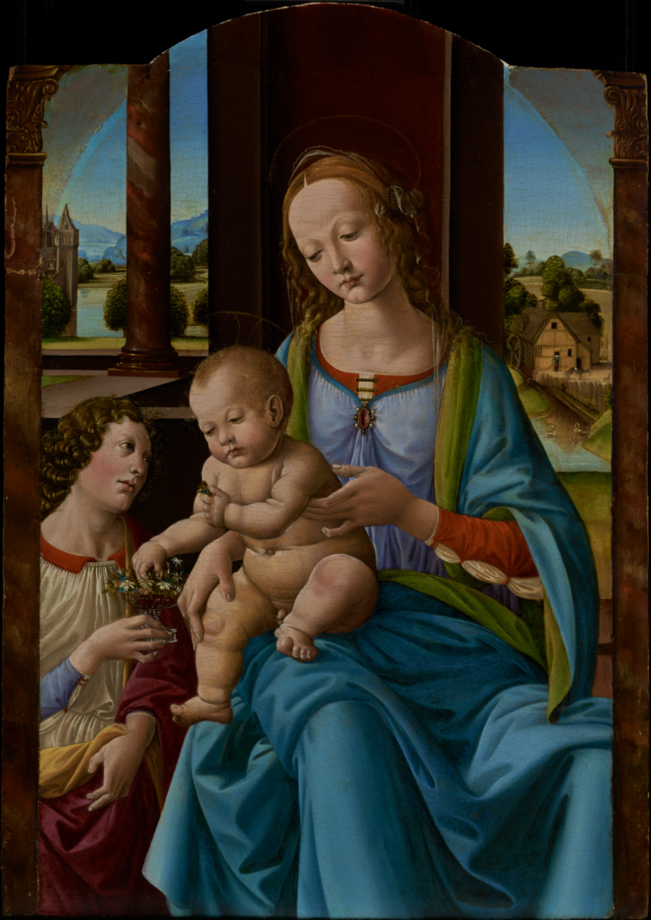Madonna and Child; Studio of Lorenzo di Credi (Lorenzo d'Andrea d'Oderigo) (Italian (Florentine), about 1456 - 1536); about 1490–1500; Tempera possibly mixed with oil on panel; 76.2 × 53.3 cm (30 × 21 in.); 70.PB.28; The J. Paul Getty Museum, Los Angeles; Rights Statement: No Copyright - United States