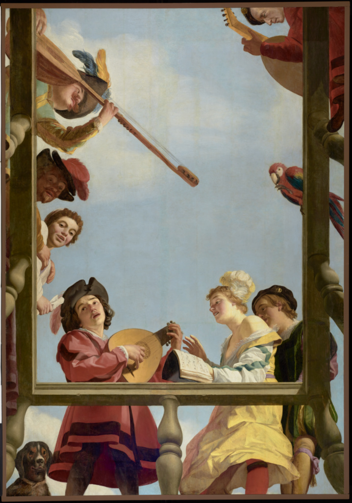 Musical Group on a Balcony; Gerrit van Honthorst (Dutch, 1590 - 1656); 1622; Oil on panel; 309.9 × 216.4 cm (122 × 85 3/16 in.); 70.PB.34; The J. Paul Getty Museum, Los Angeles; Rights Statement: No Copyright - United States