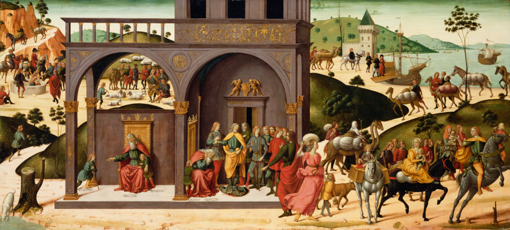 The Story of Joseph; Biagio d'Antonio (Italian (Florentine) 1446 - after 1508); about 1485; Tempera and gold leaf on panel; 66.7 × 149.2 cm (26 1/4 × 58 3/4 in.); 70.PB.41; The J. Paul Getty Museum, Los Angeles; Rights Statement: No Copyright - United States