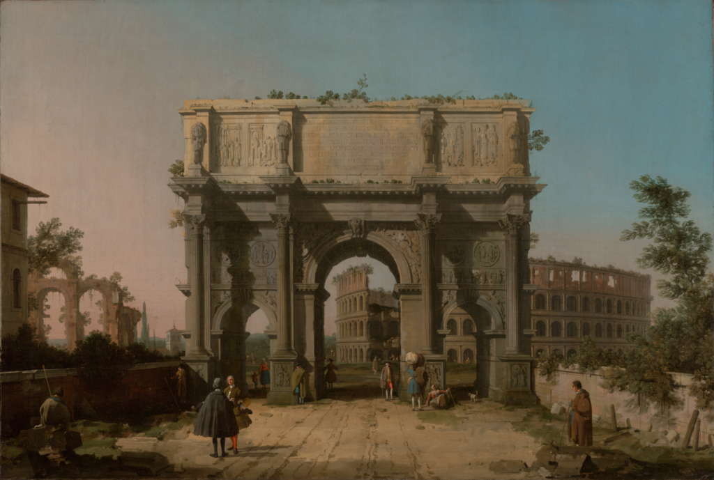 View of the Arch of Constantine with the Colosseum; Canaletto (Giovanni Antonio Canal) (Italian, 1697 - 1768); 1742–1745; Oil on canvas; 83.2 × 122.9 cm (32 3/4 × 48 3/8 in.); 70.PA.52; Rights Statement: No Copyright - United States