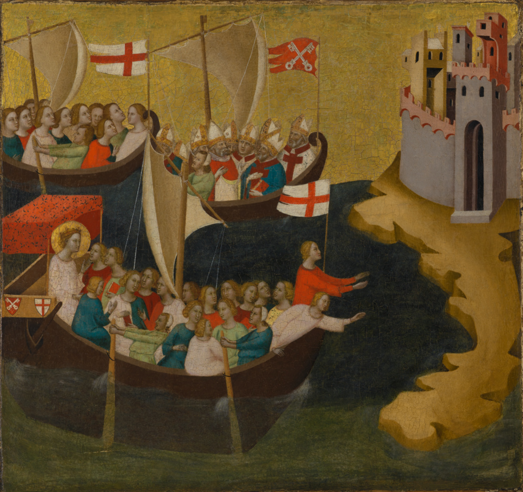 Arrival of Saint Ursula at Cologne; Bernardo Daddi (Italian, active about 1312 - 1348); about 1333; Tempera and gold leaf on panel; 66 × 67.9 cm (26 × 26 3/4 in.); 70.PB.53; Rights Statement: No Copyright - United States
