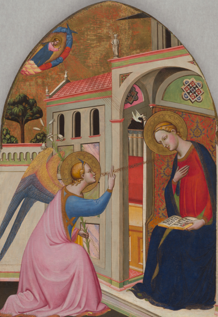 The Annunciation; Tommaso del Mazza (Italian, active 1377 - 1392); about 1390–1395; Tempera and gold leaf on panel; 128.3 × 92.1 cm (50 1/2 × 36 1/4 in.); 71.PB.21; The J. Paul Getty Museum, Los Angeles; Rights Statement: No Copyright - United States