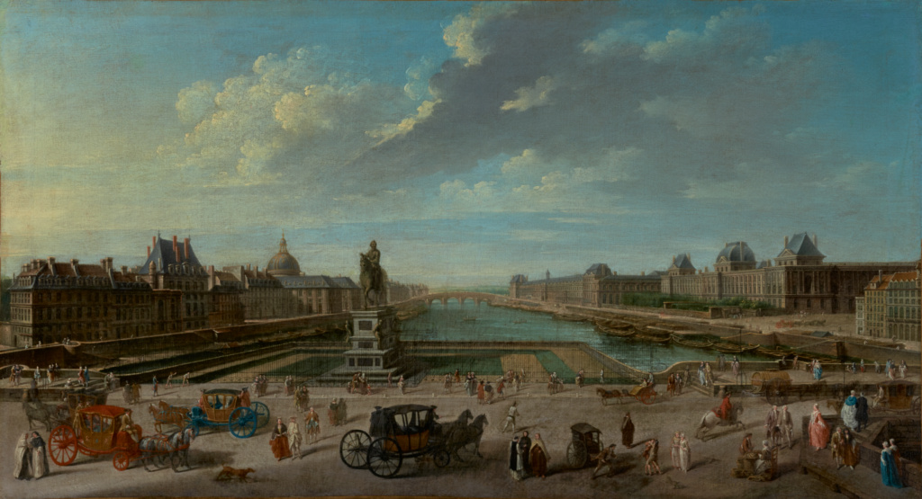 A View of Paris from the Pont Neuf; Jean-Baptiste Raguenet (French, 1715 - 1793); 1763; Oil on canvas; 46 × 84.1 cm (18 1/8 × 33 1/8 in.); 71.PA.26; The J. Paul Getty Museum, Los Angeles; Rights Statement: No Copyright - United States