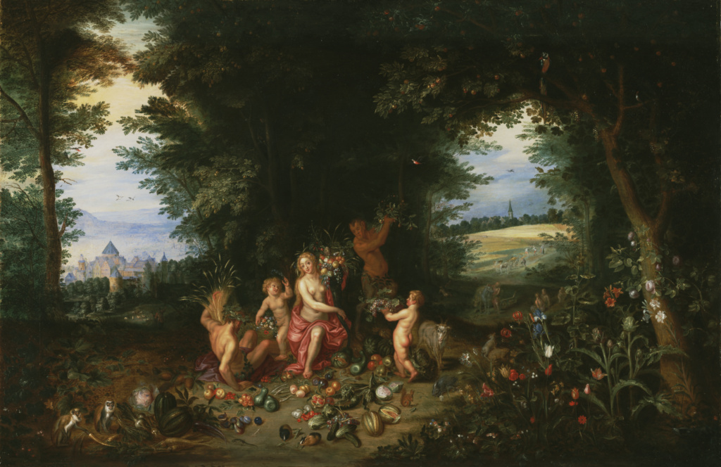 Landscape with Ceres (Allegory of Earth); Jan Brueghel the Younger (Flemish, 1601 - 1678), Hendrik van Balen (Flemish, 1575 - 1632); 1630s; Oil on panel; 52.5 × 81.5 cm (20 11/16 × 32 1/16 in.); 71.PB.29; The J. Paul Getty Museum, Los Angeles; Rights Statement: No Copyright - United States