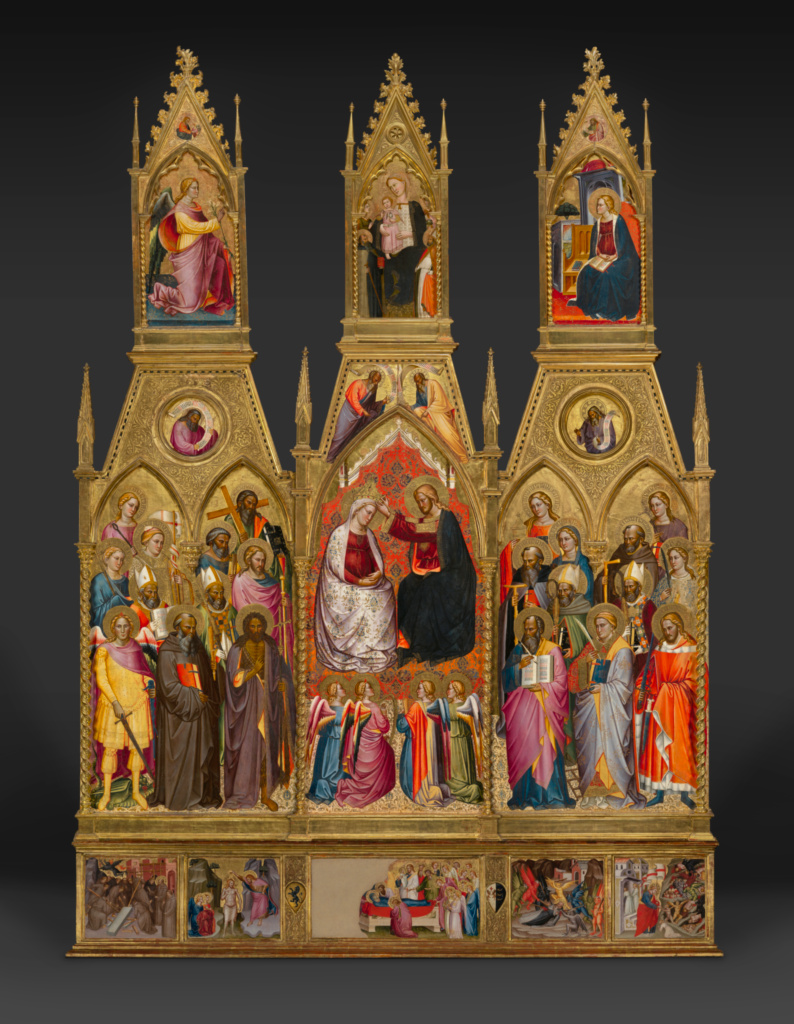 Polyptych with Coronation of the Virgin and Saints; Cenni di Francesco di Ser Cenni (Italian (Florentine), active 1369/1370 - 1415); about 1390s; Tempera and gold leaf on panel; Framed [outer dim]: 355.6 × 239.1 cm (140 × 94 1/8 in.); 71.PB.31; Rights Statement: No Copyright - United States