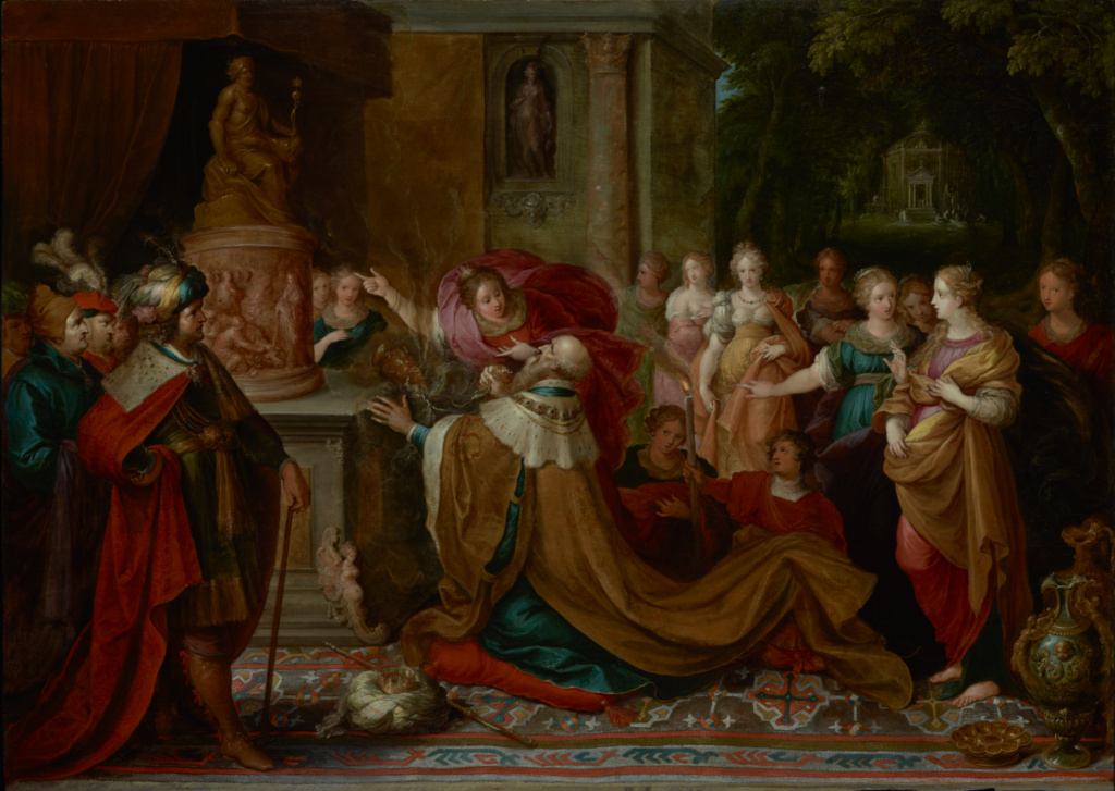 The Idolatry of Solomon; Frans Francken the Younger (Flemish, 1581 - 1642); 1622; Oil on panel; 77.2 × 109.9 cm (30 3/8 × 43 1/4 in.); 71.PB.42; Rights Statement: No Copyright - United States